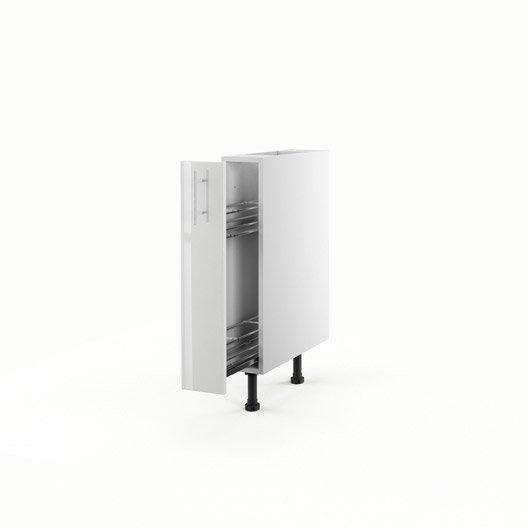Meuble de cuisine bas blanc 1 porte rio x x for Meuble mural profondeur 15 cm
