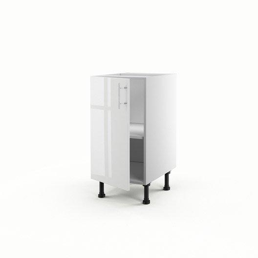 Meuble de cuisine bas blanc 1 porte rio x x for Meuble 70x40