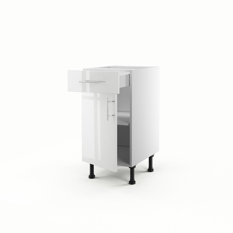 meuble de cuisine bas blanc 1 porte 1 tiroir rio x x cm leroy merlin. Black Bedroom Furniture Sets. Home Design Ideas