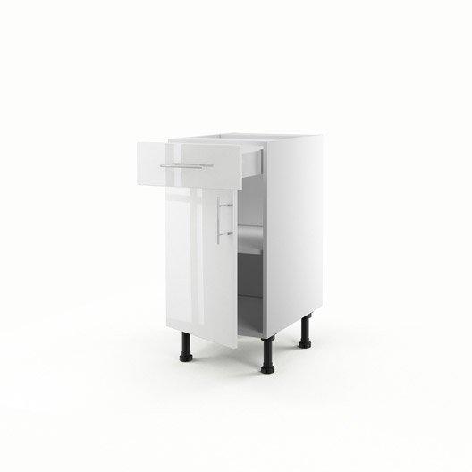 Meuble de cuisine bas blanc 1 porte 1 tiroir rio x - Meuble bas cuisine 40 cm largeur ...