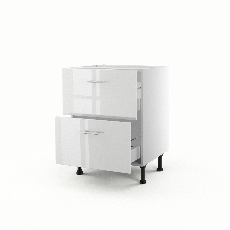 Meuble de cuisine bas blanc 2 tiroirs rio x x p - Meuble cuisine 60 cm ...