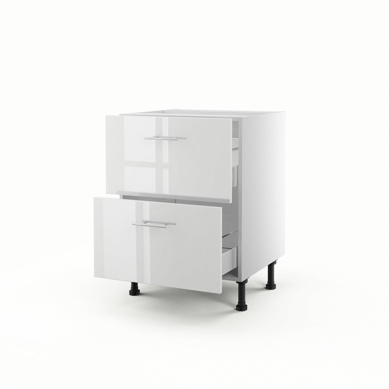 Meuble de cuisine bas blanc 2 tiroirs rio x x p for Meuble bas blanc cuisine