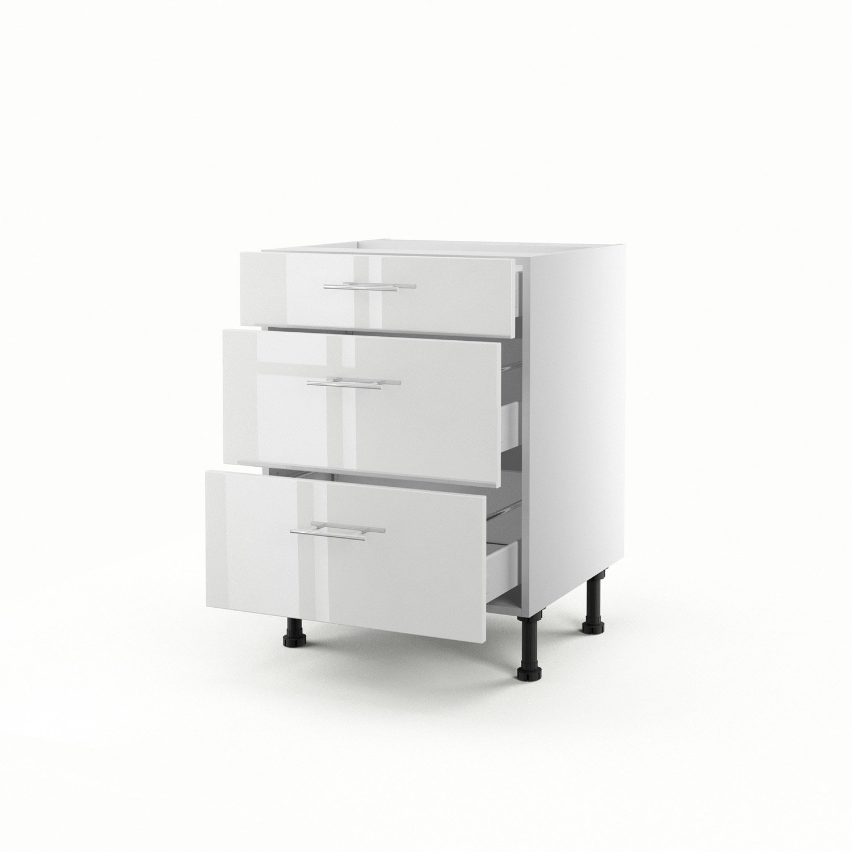 meuble de cuisine bas blanc 3 tiroirs rio h70 x l60 x p56 cm leroy merlin