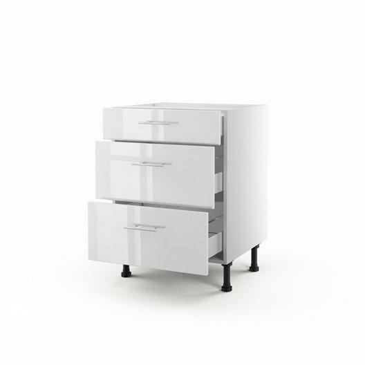Meuble de cuisine bas blanc 3 tiroirs rio x x cm leroy merlin - Meuble cuisine 60 cm ...
