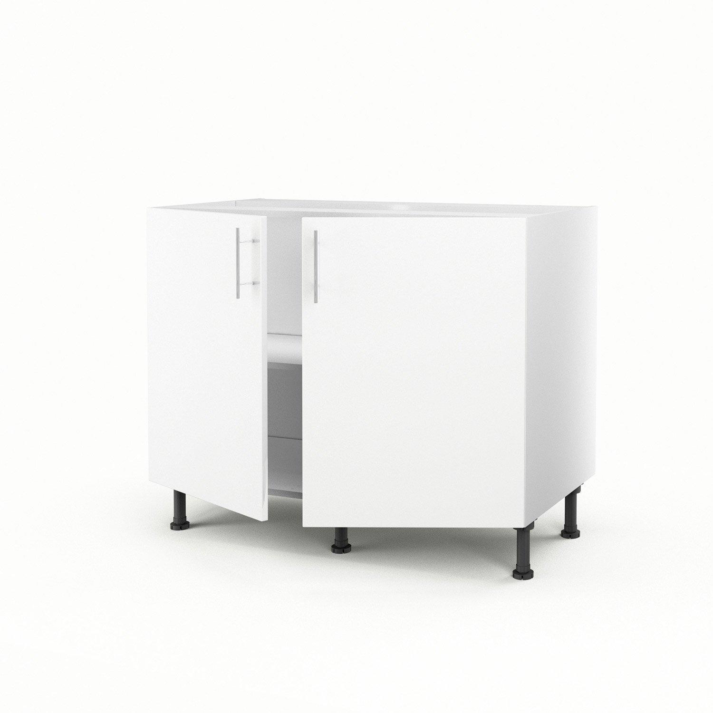 meuble de cuisine bas blanc 2 portes rio h70 x l100 x p56 cm