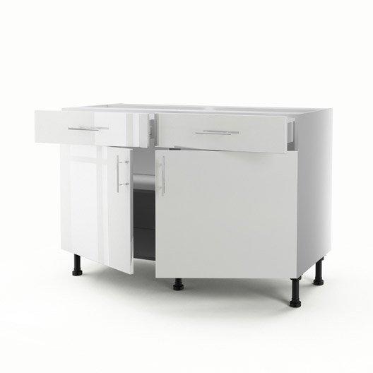Meuble de cuisine bas blanc 2 portes 2 tiroirs rio - Meuble blanc de cuisine ...