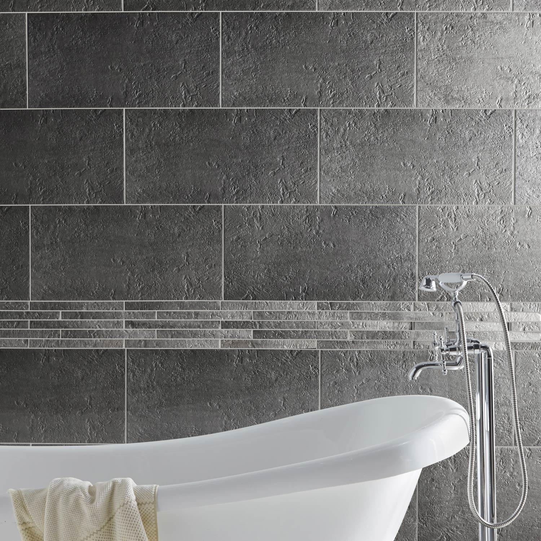 Carrelage mur et sol forte pierre gris mat l.30 x L.60 cm, Vestige