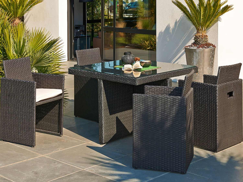 salon jardin oceane lunch blanc 1 table 2 banquettes 4 poufs leroy merlin. Black Bedroom Furniture Sets. Home Design Ideas