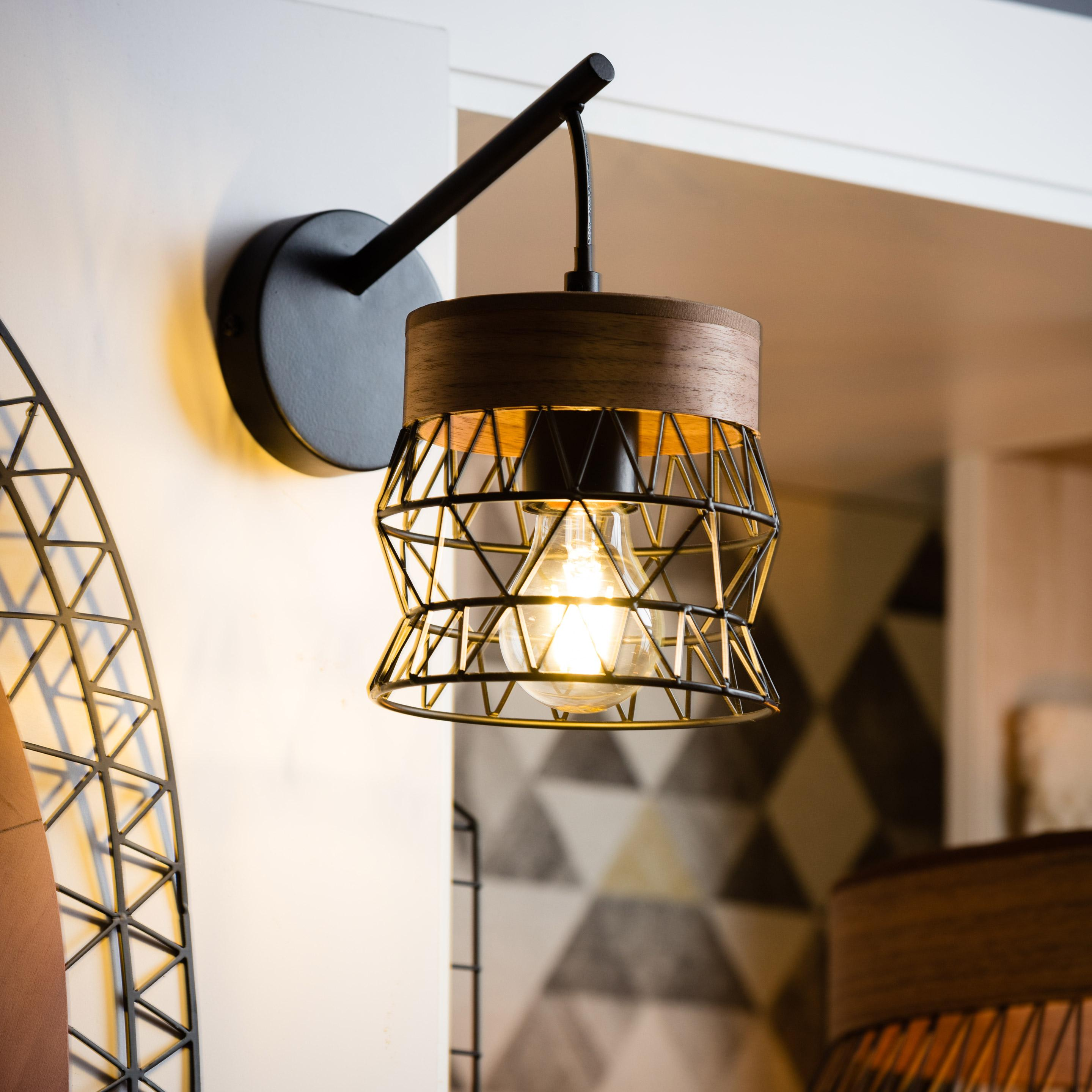 Applique métal bois / noir INSPIRE Manam 1 lumière(s)