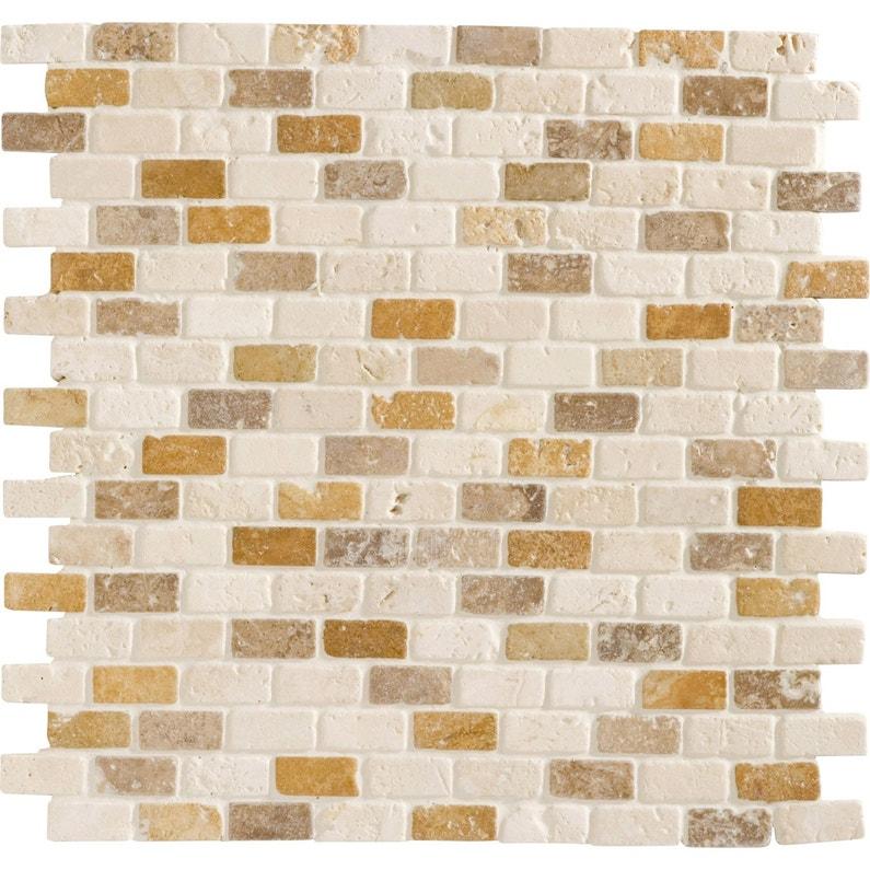 Mosaïque sol et mur Mineral travertin crème 1.5 x 3.2 cm | Leroy Merlin
