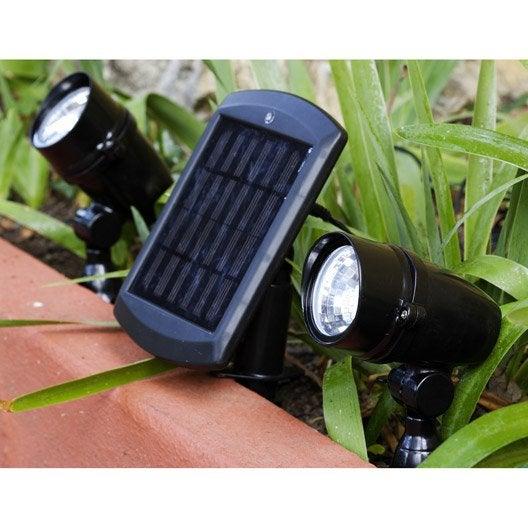 Lot de 2 spots solaire chili 48 lm noir inspire leroy merlin for Eclairage exterieur solaire professionnel