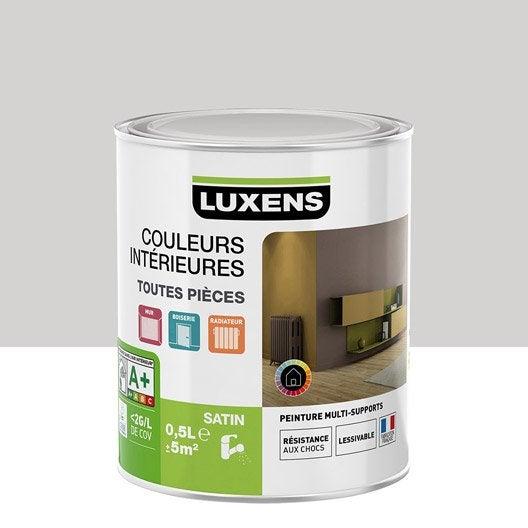 Peinture gris galet 6 luxens couleurs int rieures satin 0 5 l leroy merlin for Peinture violet aubergine