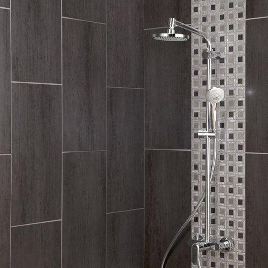 Carrelage sol et mur gris fonc eiffel x cm leroy merlin for Carrelage salle de bain gris fonce