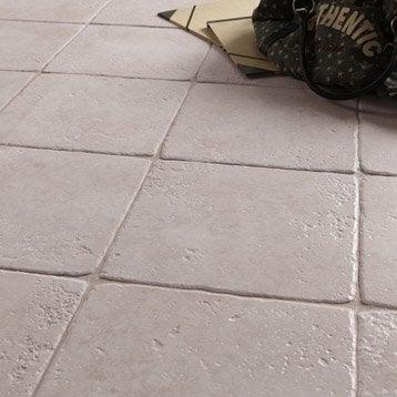 Carrelage sol et mur gris effet pierre Toscane l.32.5 x L.32.5 cm
