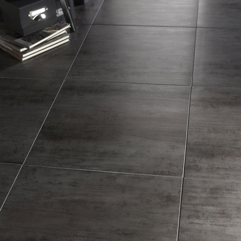 Carrelage sol et mur gris foncé effet béton Eiffel l.45 x L.45 cm ...