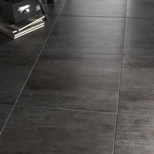 Carrelage sol et mur gris fonc effet b ton eiffel x for Carrelage imitation cuir leroy merlin