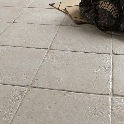 Carrelage sol et mur blanc effet pierre toscane x cm leroy me - Carrelage antiderapant leroy merlin ...