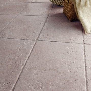 Carrelage sol et mur gris effet pierre Toscane l.32.5 x L.49 cm