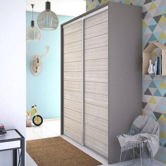 Porte de placard coulissante lambriss e bois blanchi spaceo x cm - Porte placard spaceo ...