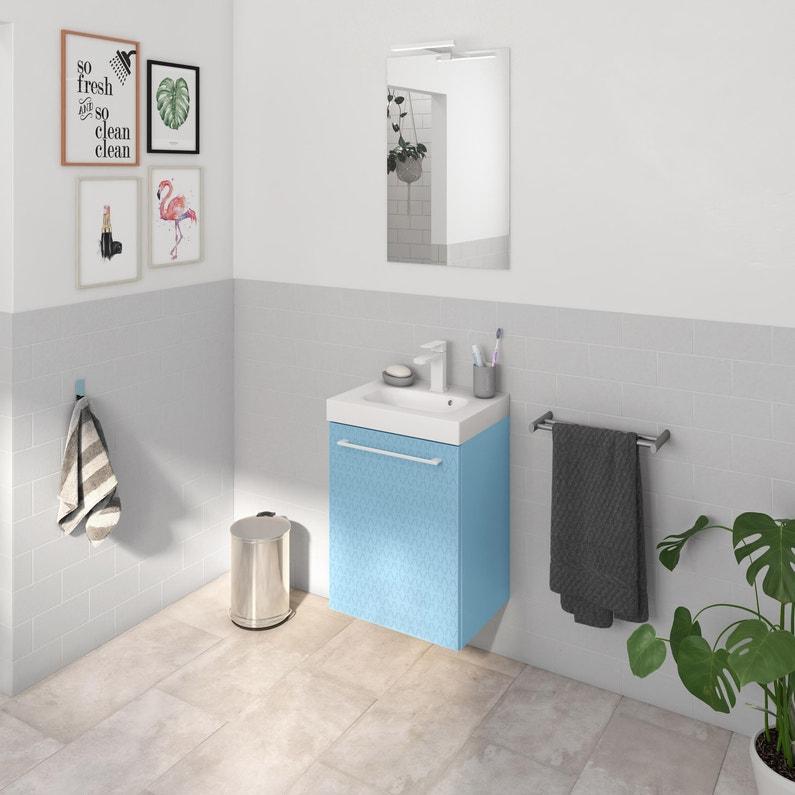 Meuble Simple Vasque L 45 X H 58 X P 46 Cm Bleu 3d Remix Leroy