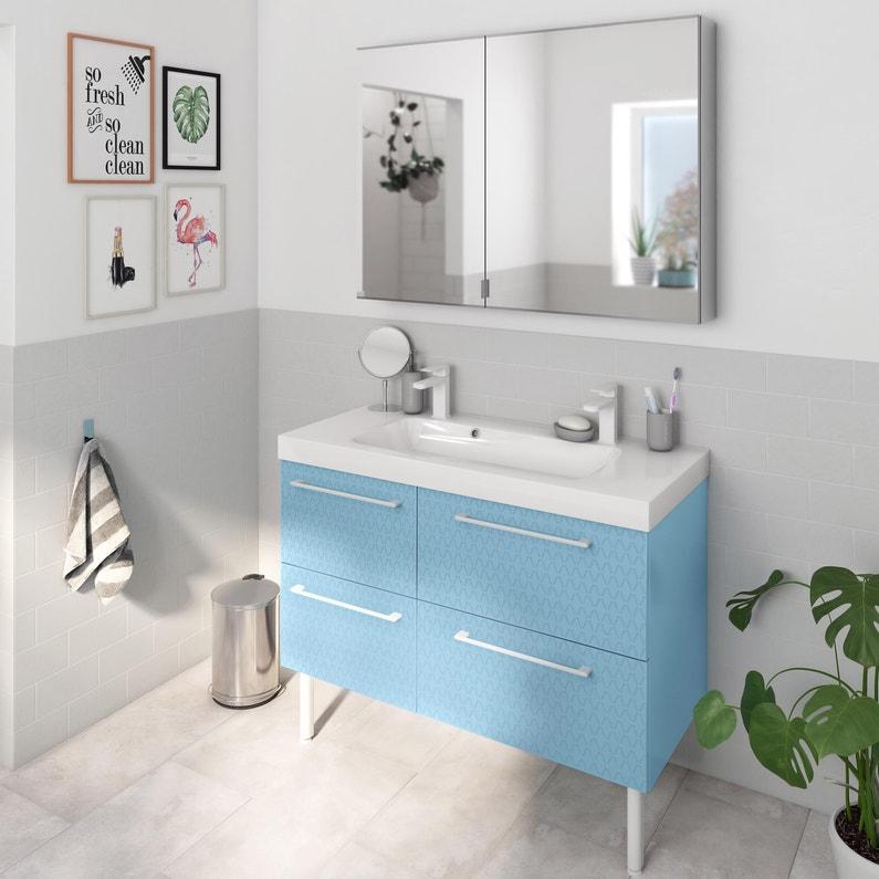 Meuble de salle de bains, Remix, l.121, bleu 3d, Simple vasque, 4 ...