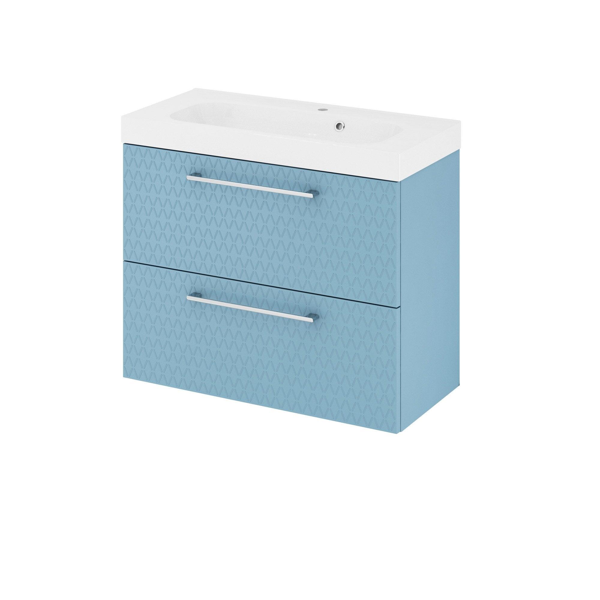 Meuble simple vasque l.75 x H.58 x P.33 cm, bleu 3d, Remix