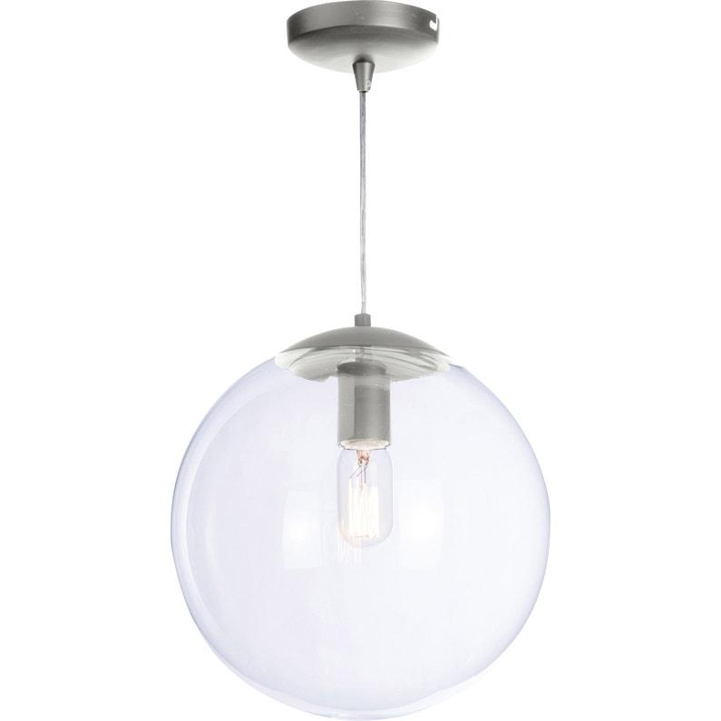 Suspension Classique Chic Métal Alu Globus 1 Lumières D30 Cm