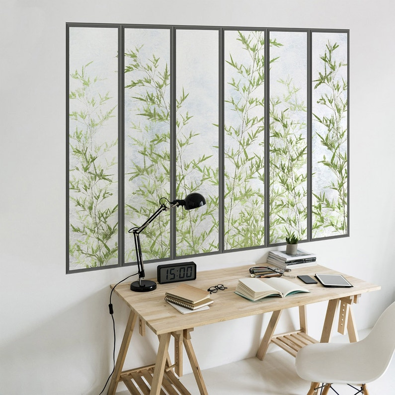 Papier Peint Panoramique Verrière Bambous Intissé Koziel L195 X H140 Cm