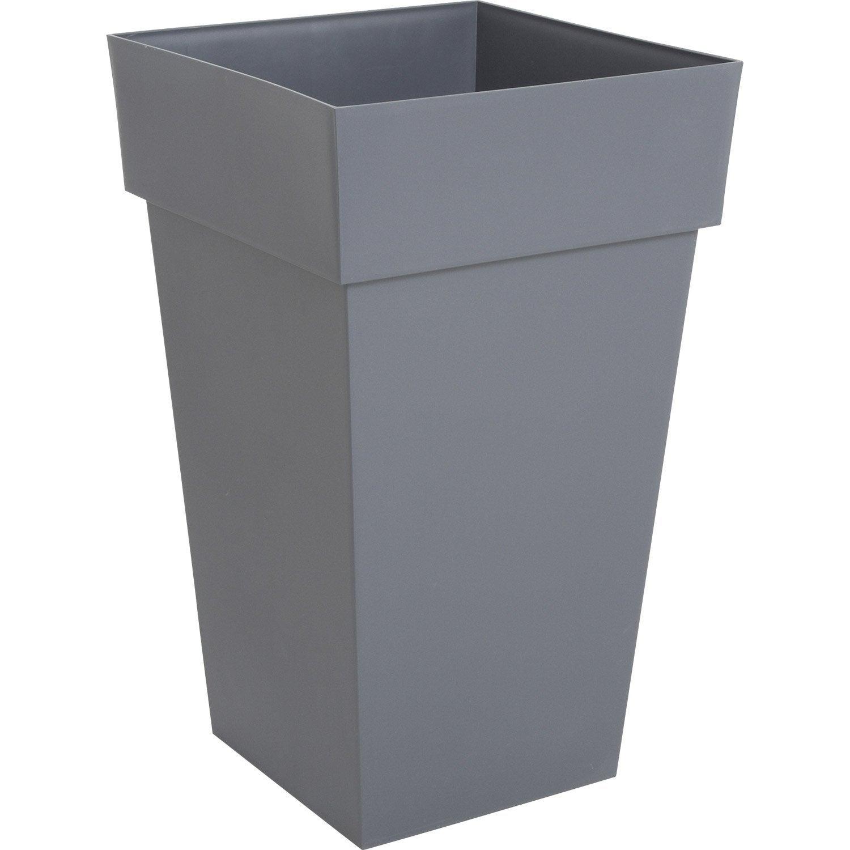 Pot Plastique Eda L 39 X L 39 X H 65 Cm Gris Anthracite Leroy Merlin