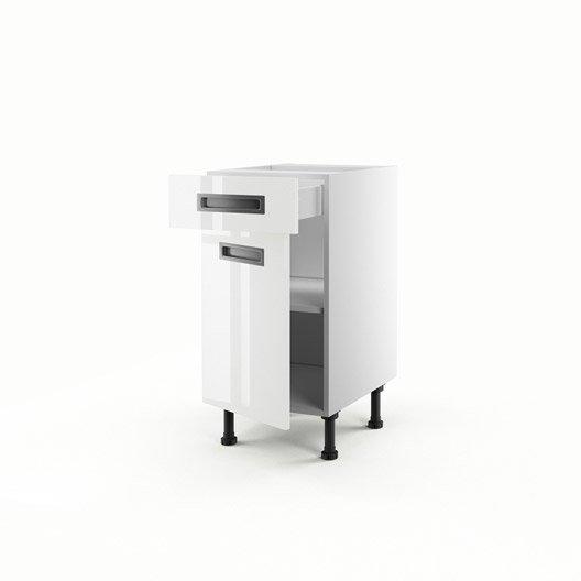Meuble de cuisine bas blanc 1 porte 1 tiroir play x for Meuble 70x40