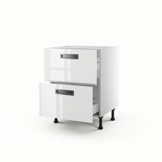 Meuble de cuisine bas blanc 2 tiroirs play x x p for Casserolier leroy merlin