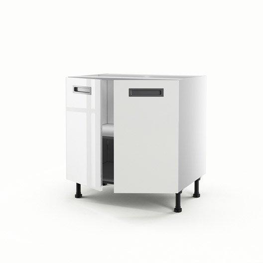 Meuble de cuisine bas blanc 2 portes play x x p for Meuble cuisine hauteur 70 cm