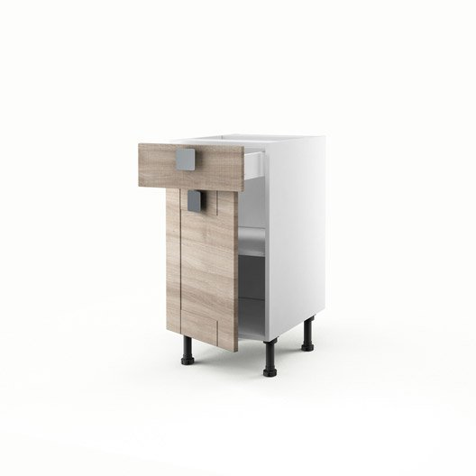 Meuble de cuisine bas d cor ch ne 1 porte 1 tiroir karrey for Meuble cuisine 40 cm largeur
