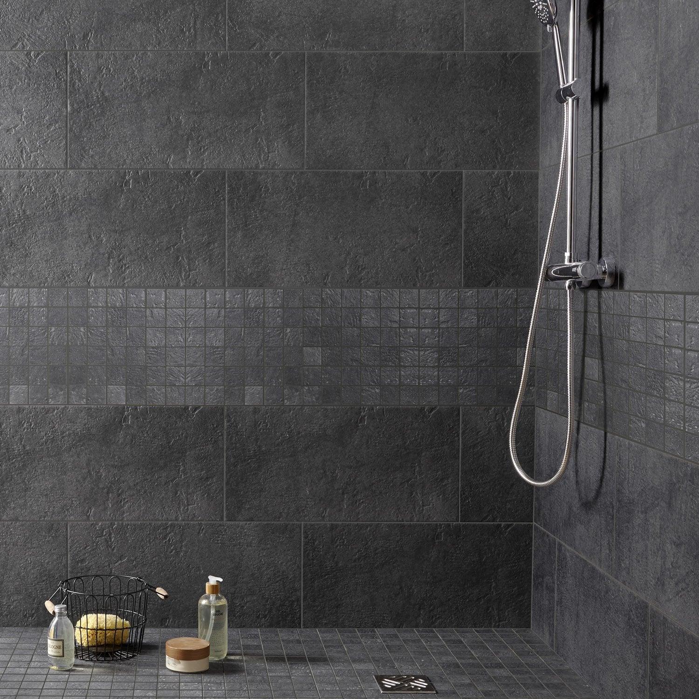Carrelage sol et mur anthracite, Vestige l.30 x L.60 cm | Leroy Merlin