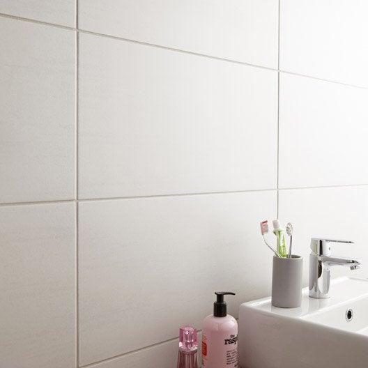 Carrelage sol et mur blanc eiffel x cm for Peinture carrelage douche leroy merlin