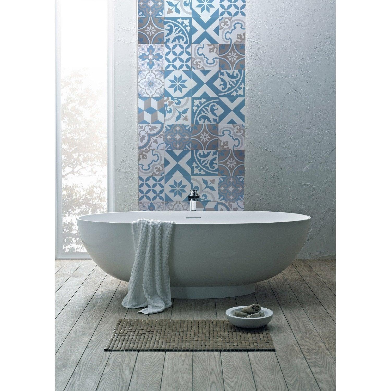 carreau de ciment sol et mur blanc gris bleu artdeco x cm leroy merlin. Black Bedroom Furniture Sets. Home Design Ideas