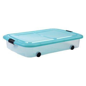 Dessous de lit Modular clear box plastique , l.56.5 x P.80 x H.15.5 cm