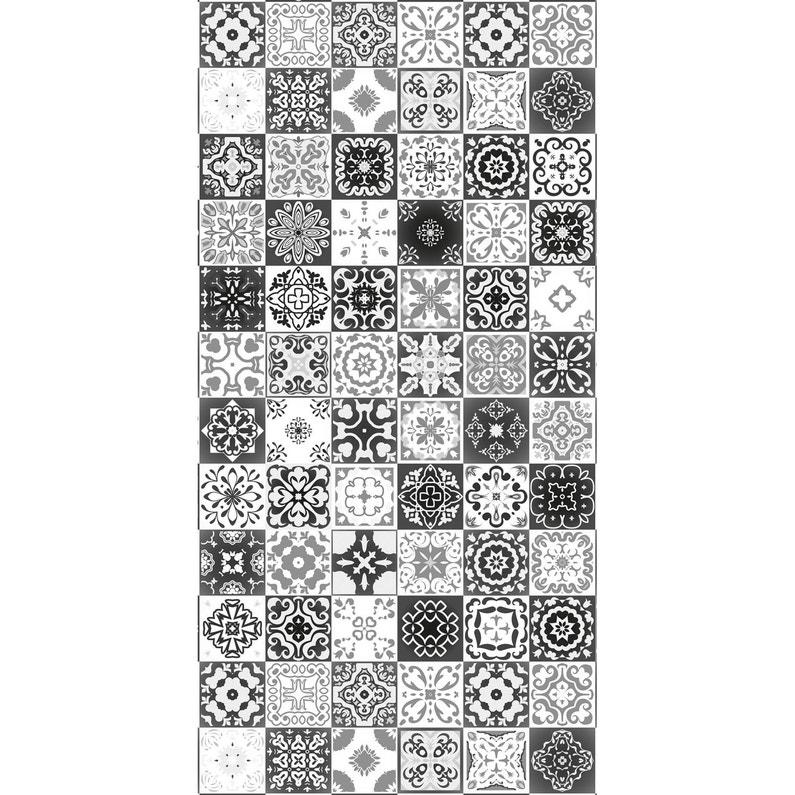 Panneau H240 Cm X L120 Cm Deco K In Carreaux Ciment Noir Brillant