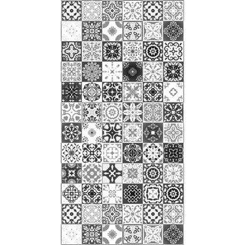 Panneau H.200 cm x l.100 cm, DECO K IN, Carreaux ciment noir brillant