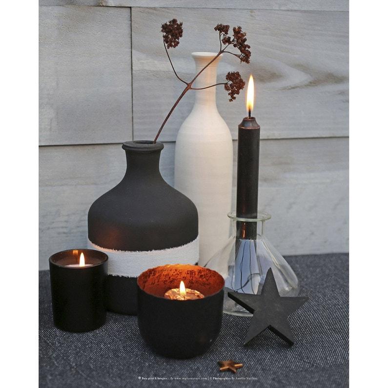 Toile Led Bouteille Vase Et Bougie Noire L50 X H40 Cm
