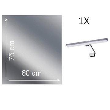 miroir lumineux avec clairage intgr l60 x h75 cm remix - Miroir Mural Salle De Bain
