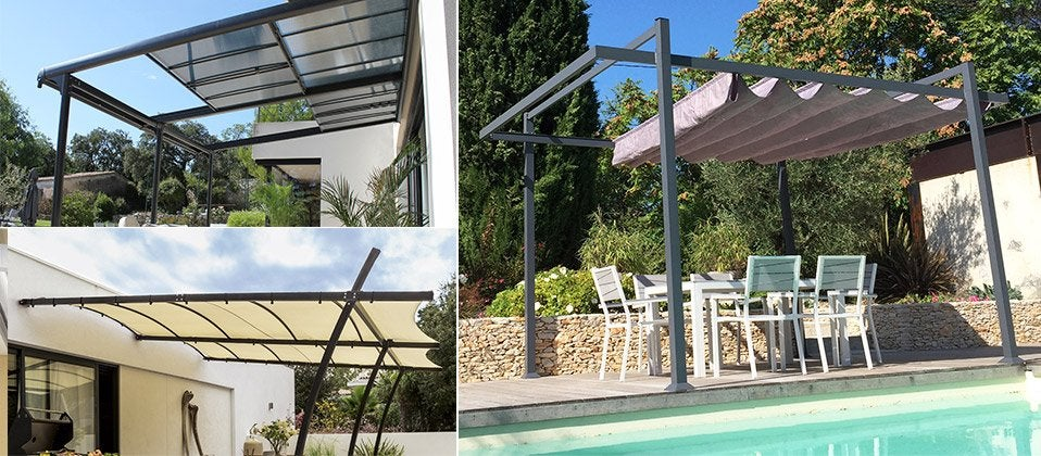 tonnelle pergola aluminium toile store polycarbonate personnalisable modulable au. Black Bedroom Furniture Sets. Home Design Ideas