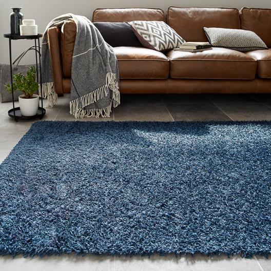 tapis bleu fonc shaggy x cm leroy merlin. Black Bedroom Furniture Sets. Home Design Ideas