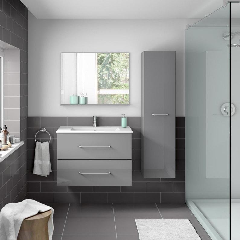 Colonne de salle de bains l.35 x H.140 x P.30 cm, gris, Clik