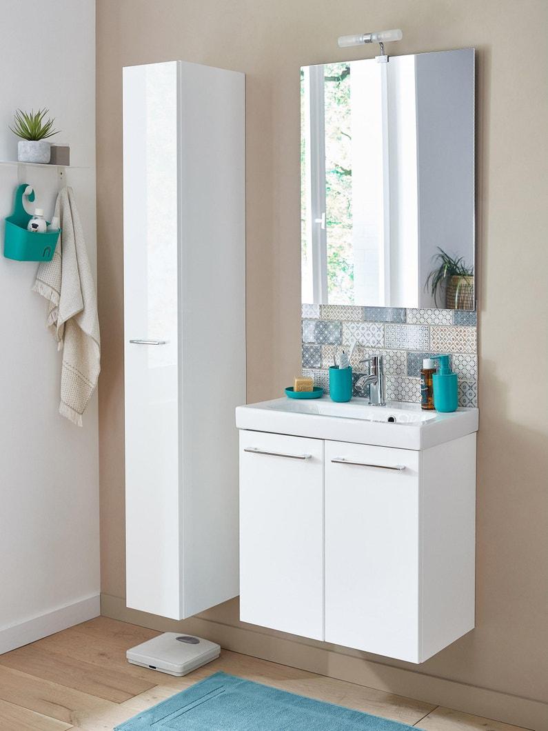 Meuble de salle de bains l.60 x H.58 x P.33 cm, blanc, Remix