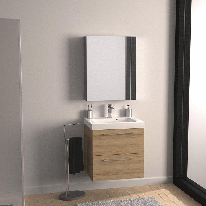 Meuble Simple Vasque L 60 X H 58 X P 46 Cm Effet Chene Naturel Remix Leroy Merlin