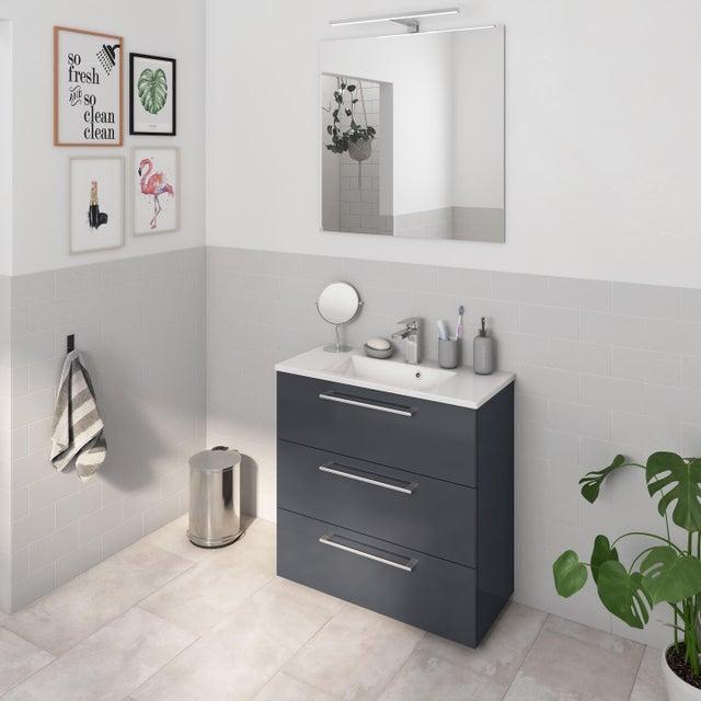 Meuble Simple Vasque L 60 X H 73 X P 33 Cm Gris Fonce Remix Leroy Merlin