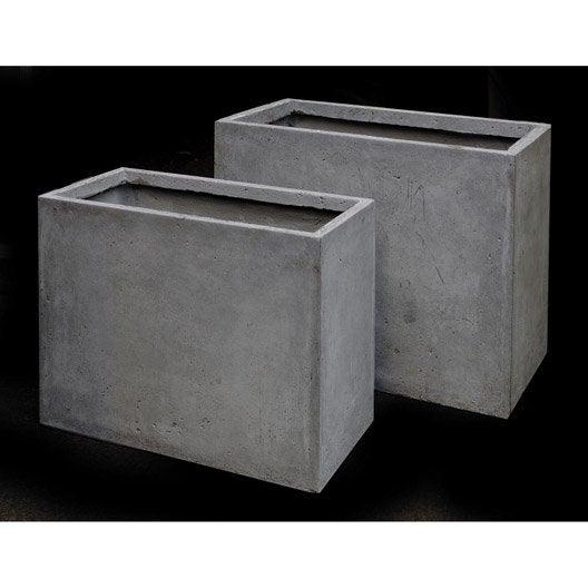 jardini re en fibre l 30 x h 50 x l 60cm coloris gris clair. Black Bedroom Furniture Sets. Home Design Ideas