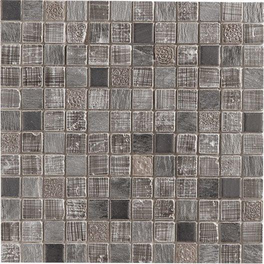 mosaque mur silverstone gris argent 23 x 23 cm - Carrelage Salle De Bain Mosaique