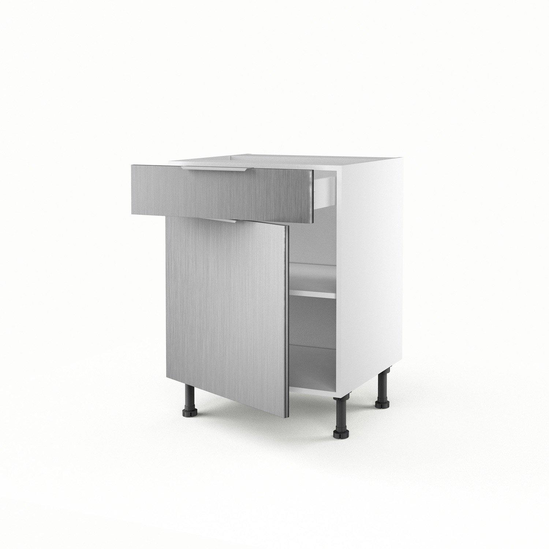 Meuble De Cuisine Bas Decor Aluminium 1 Porte 1 Tiroir Stil H 70 X L